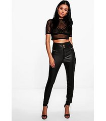 maya 3 button high rise coated skinny trousers