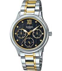 reloj analógico mujer casio ltp-e306sg1a cronógrafo - dorado con negro