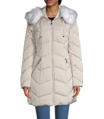 tahari women's faux fur-trim hooded chevron puffer coat - black - size l