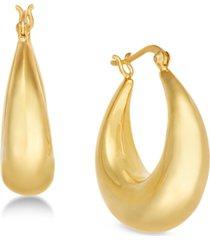 essentials medium graduated puff medium hoop in fine silver plate earrings