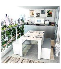 conjunto mesa jantar 2 bancos branco lilies móveis