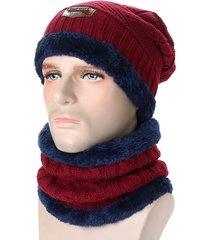 uomo set beanie hat e sciarpa in maglia cappello floscio foderata di vello corale a doppio strati