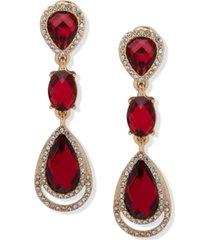 anne klein gold-tone stone & crystal linear clip-on drop earrings