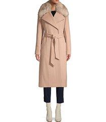 faux fur-trimmed belted coat