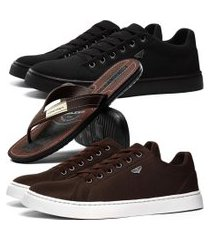 kit 2 pares de sapatênis skateboard sapatofran casual preto e cafe com danper