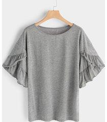 gris redondo cuello camisetas de manga corta