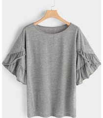 grey round neck short sleeves t-shirts