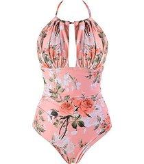 flower backless halter high rise swimsuit