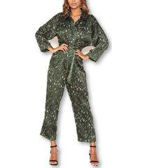 ax paris women's printed button up jumpsuit