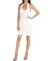 24seven comfort apparel halter top knee length dress with ruffle detail