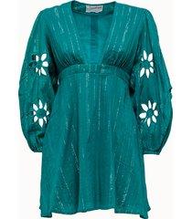 sundress abito corto in cotone con ricamo
