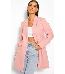 kraagloze nepwollen jas, roze