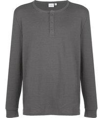 onia miles waffle knit henley sweatshirt - grey