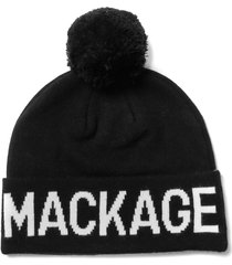 women's mackage logo wool blend pom beanie -