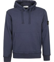 stone island logo patched ribbed hoodie