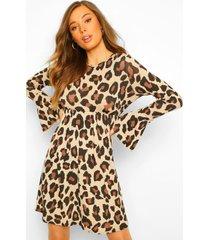luipaardprint gesmokte jurk met lange mouwen, tan