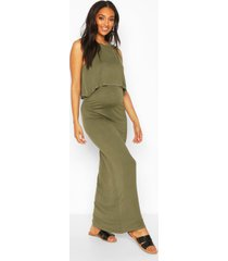 maternity nursing maxi dress, khaki