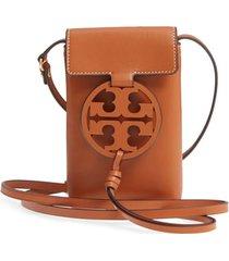 tory burch miller leather phone crossbody bag - brown
