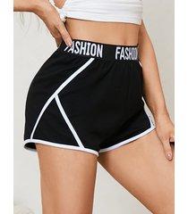 shorts de cintura elástica con contraste de letras yoins