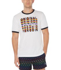 original penguin men's pride rainbow logo graphic ringer t-shirt