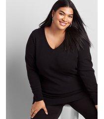 lane bryant women's long-sleeve v-neck sweater 14/16 black