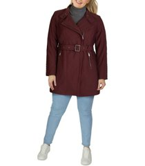 kenneth cole women's plus size asymmetrical belted rain coat