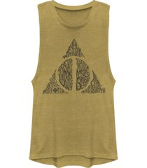 fifth sun harry potter deathly hallows text filled logo festival muscle women's tank