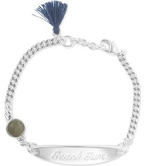 lucky brand silver-tone beach bum id link bracelet