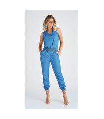 macacão jeans zait jogger luma azul marinho