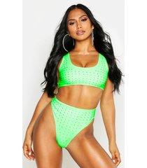 diamante crop high waist bikini