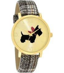 charter club women's scottie dog black plaid strap watch 40mm, created for macy's