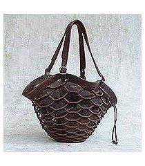 leather shoulder bag, 'espresso sambura' (16 inch) (brazil)