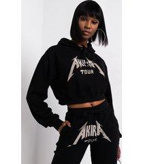 akira akira tour rhinestone cropped hoodie