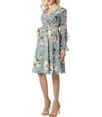 women's kimi and kai floral print long sleeve chiffon maternity dress, size medium - none