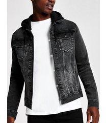 river island mens black muscle fit hooded denim jacket