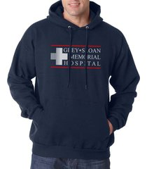 logo only greys + sloan memorial hospital greys anatomy unisex hoodie navy