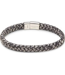 sterling silver, leather & topaz bracelet