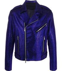 balmain rhinestone-embellished biker jacket - blue