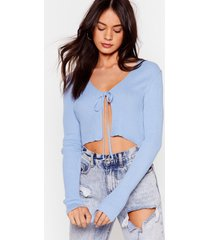 womens we all love a tie-r ribbed cropped cardigan - blue