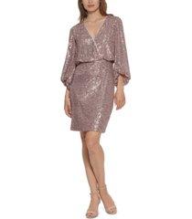 eliza j sequined blouson shift dress