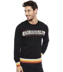 sweater desigual abel negro - calce regular