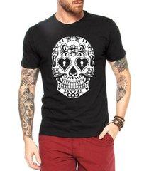 camiseta criativa urbana caveira mexicana cartas