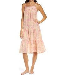 papinelle hydrangea tiered cotton & silk nightgown, size small in floral at nordstrom
