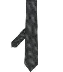 emporio armani pointed tip silk tie - black
