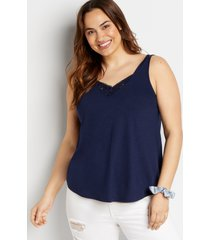 maurices plus size womens 24/7 eyelet insert button tank top blue