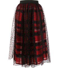 ermanno ermanno plaid embroidered heart skirt