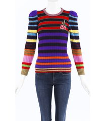 gucci striped cashmere knit floral sweater