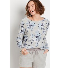 maurices womens blue floral crew neck sweatshirt gray