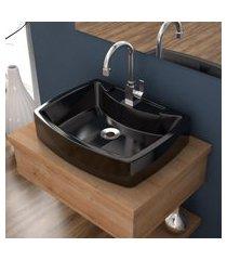 cuba de apoio para banheiro compace aria rt50w retangular preta