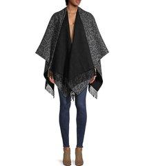 leopard-print merino wool cape